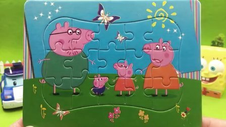 【小猪佩奇佩佩猪玩具】变形警车珀利海绵宝宝拼装小猪佩奇益智拼图