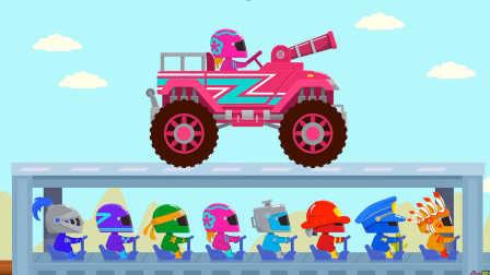 汽车游戏#004期:闪电赛车 坦克车 小卡车儿童游戏 拼装汽车亲子游戏