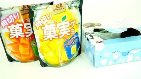【旋转的万花筒】日本零食芒果和菠萝味角切果肉软糖和卡巴也熊猫巧克力饼干分享!