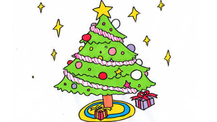 很好学的卡通圣诞树简笔画送给大家,让这个圣诞美美哒~