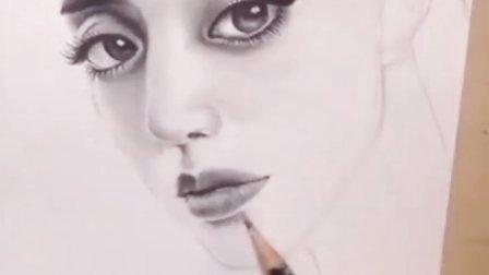 手绘美女头像过程