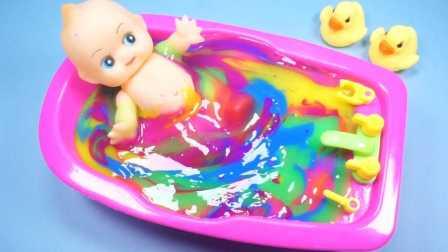 超人气七彩冰冻水晶粘土奇趣蛋玩具芭比娃娃洗澡过家家游戏故事