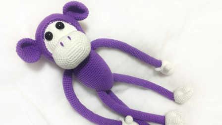 【小脚丫】大嘴猴玩偶(脸部)毛线钩法毛线玩具的钩法学钩玩偶花样大全