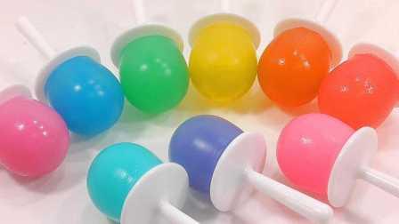 3分钟手工DIY小棒棒糖冰淇淋布丁;培乐多果冻粘土冰冻玩具试玩!#PomPom玩具#