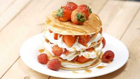 独家「草莓松饼蛋糕」制作方法,满满的幸福感!