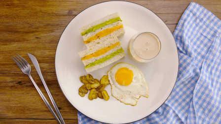 太阳猫早餐 第一季 番薯牛油果三明治配乌龙奶茶 215