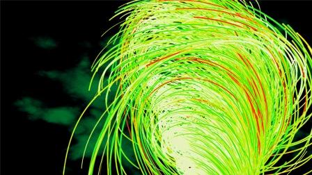 C4D教程,使用自带粒子做炫酷的光线旋风效果