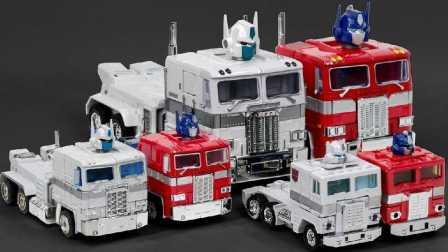 红色和白色的卡车 玩具卡车柯博文 超Magnus Convoy卡车6车机器人