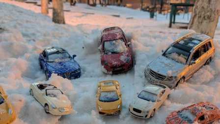 汽车玩具  在雪的汽车 儿童玩具 梅赛德斯兰博基尼本特利   汽车玩具