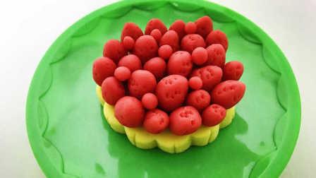 玩具视频 橡皮泥手工制作玫瑰花蛋糕 亲子游戏