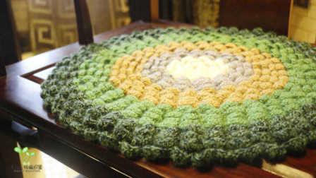 毛儿手作钩针坐垫抱枕莲花垫子新手教程怎样编织织法图解