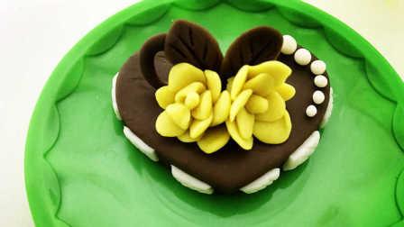 玩具视频 橡皮泥手工制作黄花巧克力蛋糕 亲子游戏