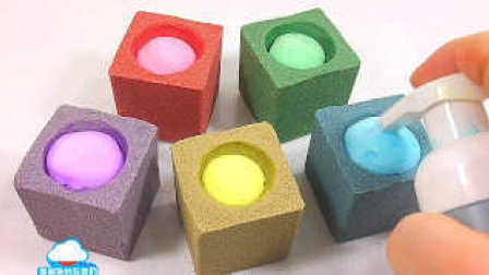 手工制作 颜色动力砂泡沫学习颜色泥煤粘土 牛奶冰淇淋做法 DIY 美国kinetic太空沙玩具 动力沙砂 【 俊和他的玩具们 】