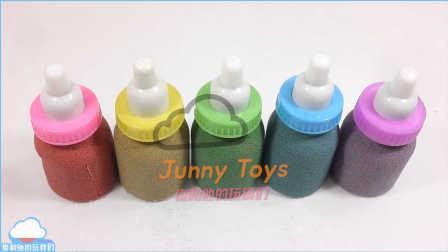 彩色婴儿奶瓶制作 动力砂 动力沙制作 学习颜色 煤泥冰淇淋橡皮泥制作 彩色果冻胶 粘土制作 【 俊和他的玩具们 】