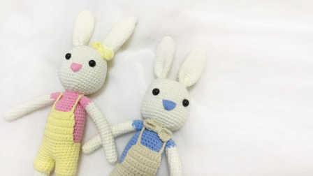 【小脚丫】安吉小兔(4背带裤)毛线钩法毛线玩具的钩法学钩玩偶毛线简易织法