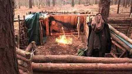【野餐露营】独自在丛林庇护所中过夜(碳灼肉排和牛扒)