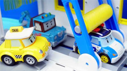 变形警车珀利 汽车洗车房 玩具 变形机器人