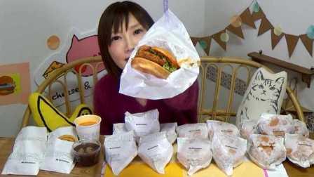 摩斯汉堡新品 缤纷蟹香辣酱炸虾堡 龙虾浓汤 木下大胃王 中文字幕 吃货木下