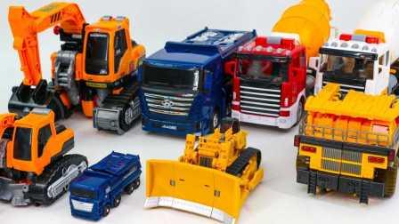 施工变形金刚  Carbot Tobot 转储搅拌机卡车推土机Poclain 魔幻车神玩具