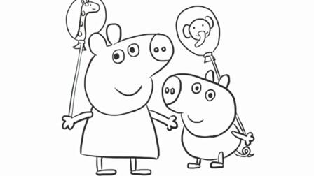 小林画的 佩奇一家粉红猪小妹吹喇叭儿童亲子简笔画 小林画的