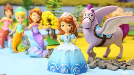 『奇趣箱』奇趣箱小公主苏菲亚:小公主苏菲亚来小猪佩奇家吃蛋糕,被巫婆困孤岛,美人鱼公主和独角兽救援