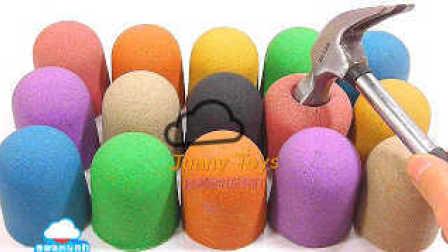 美国kinetic太空沙 彩色动力砂 动力沙制作 锤子敲打 学习颜色 煤泥粘土制作 心形小蛋糕 益智游戏 快乐游戏【 俊和他的玩具们 】