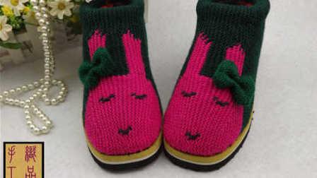 【手工织品视频教学】上集晚安兔花毛线棉鞋毛线拖鞋编织视频教程怎样编织织法图解
