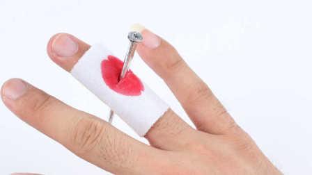 魔术教学:钉子穿手 手完好无损 原来这么简单