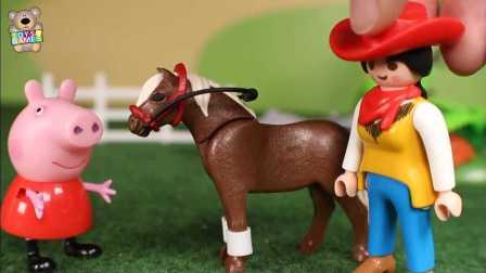 小猪佩奇 佩奇跟乔治在骑小马