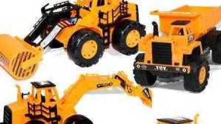 挖掘机与卡车工作视频 儿童工程车表演 挖掘机动画片 装载卡车20-24关