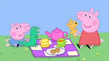小猪佩奇去野餐 粉红小猪妹吃草莓蛋糕