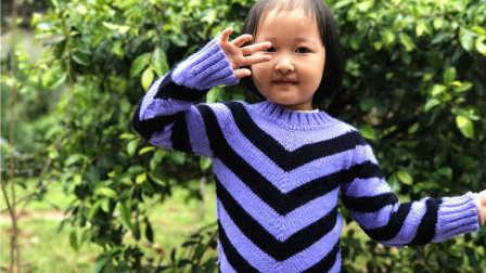 【昭尔茹悦】第40集【V衫】从上往下织条纹套头圆领毛衣编织花样集锦