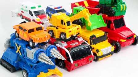 建筑消防车校车警察救护车组合 变形金刚 [迷你特工队之英雄的变形金刚] 动漫 动画 变形金刚  魔幻车神 新玩具