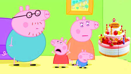小猪佩奇跟猪爸爸妈妈一起用培培乐彩泥制作蛋糕