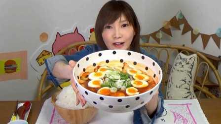 一大碗炒年糕味泡面 泡面配米饭 还要加个蛋 木下大胃王 中文字幕 吃货木下
