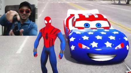 闪电麦昆 播放GTA 汽车 GTA 模式闪电麦昆和蜘蛛侠 玩游戏
