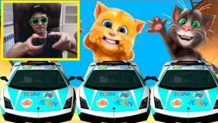 我的汤姆猫短片汽车 兰博基尼汽车 警车 有趣的游戏的孩子 儿童音乐