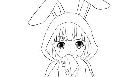 [小林画的]穿着可爱兔子睡衣的Q版卡通女孩卡通线稿简笔画
