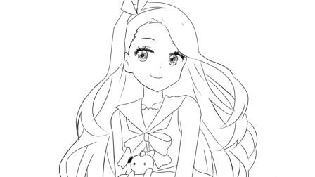 [小林画的]戴蝴蝶发夹的可爱小女孩卡通线稿简笔画