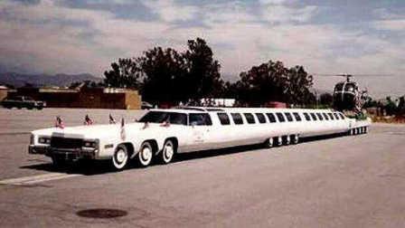30米轿车像火车,配直升机高尔夫球场,什么来头