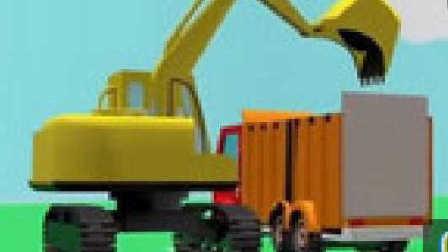 运输水泥大卡车 挖掘机与卡车工作视频 儿童工程车表演 挖掘机动画片