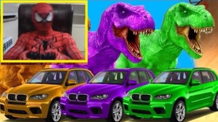 恐龙和汽车 蜘蛛侠和电脑游戏 汽车上乘坐的恐龙 GTA4
