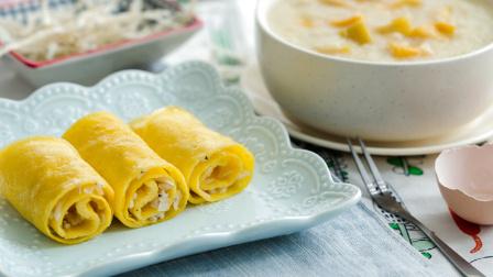 银鱼蛋卷配红薯小米粥 123