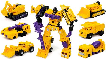 玩具 建设一个大型的机器人 生玩具套 大黄色机器人 变形金刚建筑黄色破坏者 大力神车6in1组合机器人车玩具