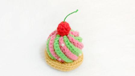 【小脚丫】(蛋糕2)毛线钩法毛线彩色蛋糕的钩法学钩玩偶毛线蔬菜水果花样大全图