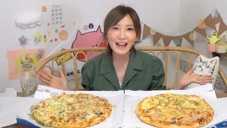 【木下大胃王】达美乐披萨期间限定披萨双拼 @柚子木字幕组.mp4
