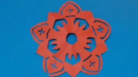 剪纸小课堂249:剪纸 窗花五瓣花11 儿童剪纸教程视频大全 亲子手工