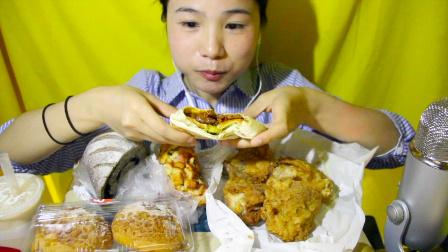 103爱吃饭的妹子  kfc嫩牛五方+吮指原味鸡+85度c面包 凯撒大帝+谷物芝麻面包+牛奶泡芙+奶茶 中国吃播~