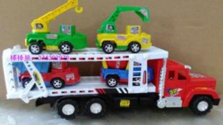 大卡车运小卡车 挖掘机表演视频 各类工程车动画.mp4