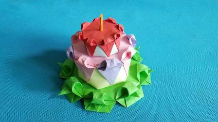 折纸王子大全 中级折纸 折纸王子教你折纸生日蛋糕(三)